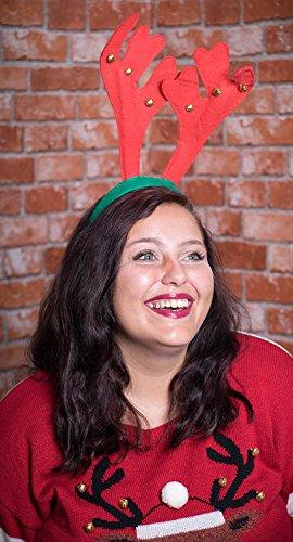 Clever Creations - Weihnachts-Haarreif mit Rentiergeweih & Glöckchen - für Kinder & Erwachsene - Rot & Grün - Einheitsgröße