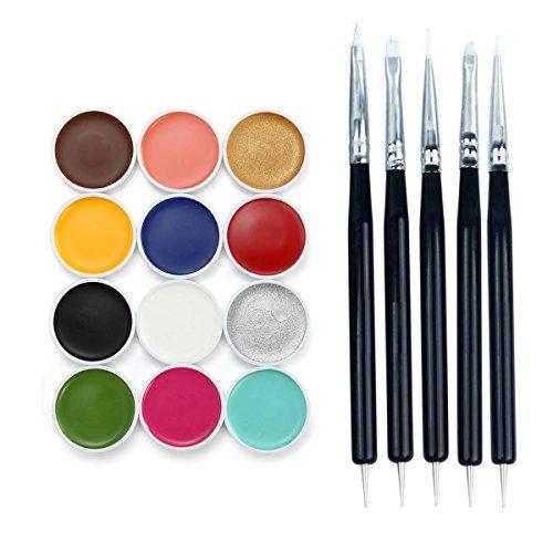 Shsyue 12 Körperfarbe Set: Schminkpalette aus Metall mit 10 Schminkfarben 2 Glitzer und 5 (Up Make Für Tipps Halloween)