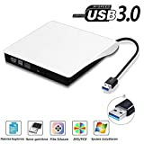 USB3.0 DVD-RW DVD/CD Brenner Slim extern Laufwerk Portable DVD CD Brenner, QinYun Superdrive für alle Laptops/Desktop z.B Lenovo,Acer,Asus,PC unter Windows und Mac OS für Apple Macbook, Macbook Pro, MacbookAir, iMac – weiß