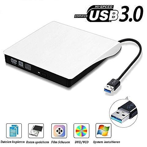 USB3.0 DVD-RW DVD/CD Brenner Slim externes Laufwerk Portable DVD CD Brenner, QinYun Superdrive für alle Laptops/Desktop z.B Lenovo,Acer,Asus,PC unter Windows und Mac OS für Apple Macbook, Macbook Pro, MacbookAir, iMac –
