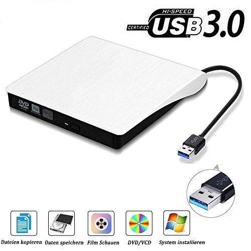 Lecteur Graveur DVD CD Externe USB3.0 Ultra Slim Portable, QinYun Graveur Externe Drive CD DVD +/-RW Writer/Rewriter/Player,Compatible Windows 98SE/ME/2000/XP/Vista/7/8/10/Mac os10.0 Pour Macbook Pro/Laptop/Desktops/PC Par–Blanc