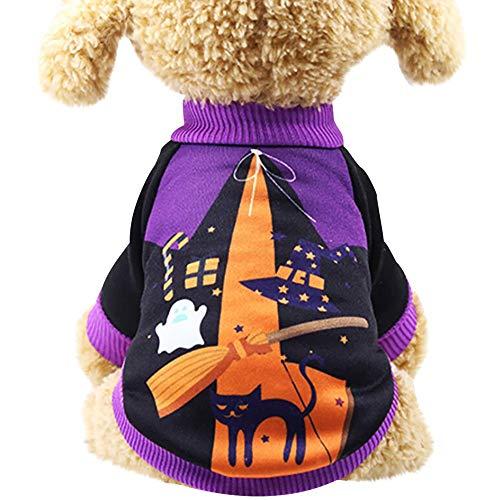 Muster Damen Kostüm Hexe - Smniao Warm Hundekleidung für Kleine Hunde Chihuahua Halloween Cosplay Hundepullover Bulldogge Sweatshirt Hexe Muster Haustier Kostüm (L, Lila)