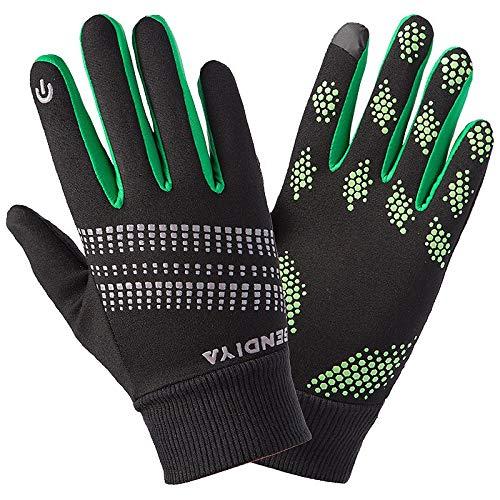 (Wangji Winter-Outdoor-Sport Fleece warme Vollfingerhandschuhe Männer und Frauen Winddicht Anti-Rutsch-Touchscreen schwarz grün, L)