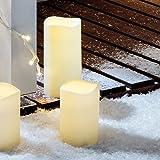 2er Set LED Außenkerze Gartendeko mit Zeitschaltuhr Batteriebetrieb Lights4fun