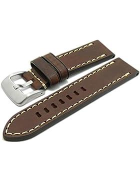Meyhofer Uhrenarmband Arona 22mm dunkelbraun Sattelleder glatt helle Naht MyCrklb529/22mm/dbraun/hN