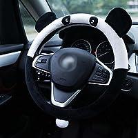 QLL Cubierta del volante del coche Nueva historieta del invierno Panda lindo conjunto de la felpa Regalo del boutique del coche , Black White , 38CM
