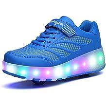 Bruce Lin Unisex Niños LED Parpadea Roller Zapatos Skate Ajustable Rueda Automática Aire Libre Patines Moda Deportes Zapatillas Para Niño y Niña
