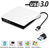 USB3.0 DVD-RW DVD/CD Brenner Slim externes Laufwerk Portable DVD CD Brenner, QinYun Superdrive für alle Laptops/Desktop z.B Lenovo,Acer,Asus,PC unter Windows und Mac OS für Apple Macbook, Macbook Pro, MacbookAir, iMac – weiß