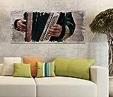 Holzbild 100x40cm Musik Akkordeon spielen Kunst alt retro Druck auf Holz Holzbilder Vintage Bild UV Foto Wandbild Wandbilder W0738, Holz Gr 1:100x40 cm