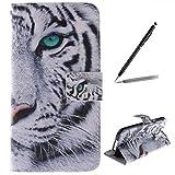 trumpshop Smartphone Schutz Schale Tasche Handyhülle für Samsung Galaxy S5 Mini Tier-Reihe mit Tiger PU Lederhülle Flip Etui Hülle SchutzHüllen Standfunktion Kredit Kartenfächer
