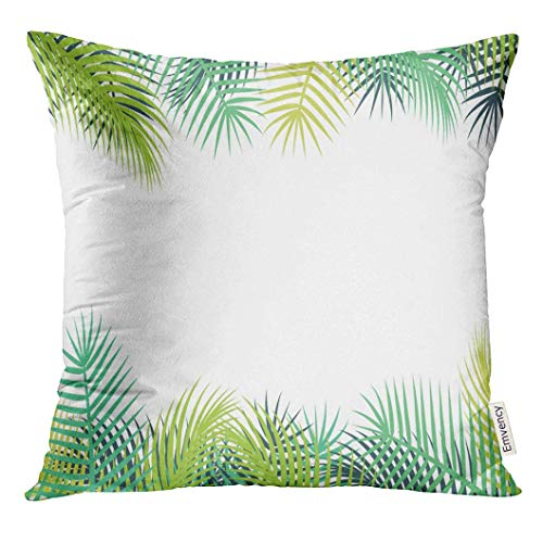 n Abstract Time of Summer Vacation with Palm Trees Beach Decorative Pillow Case Home Decor Square 18x18 Inches Pillowcase ()