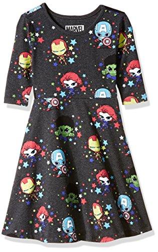 Marvel Big Girls' Characters Dress, Charcoal Heather, XL-16 (Charcoal Big Bekleidung Kids)