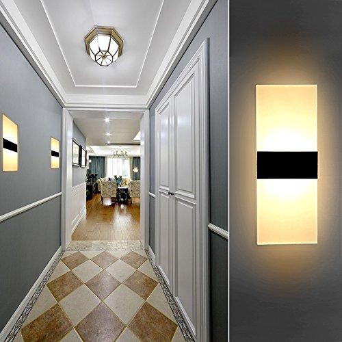 LL6Y2-DE 6W LED Wandleuchten Innen aus Kreative minimalistische für Wohnzimmer,Schlafzimmer,Arbeitszimmer,Hotel,Flur,LED-Acrylwandlampe,Warmweiß [Energieklasse A+]schwarz + Rechte Winkel 85V~260V
