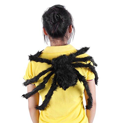 LAEMILIA Halloween Deko Groß Haarige Spinne mit leuchtenden Augen Schwarz Horror Party (Schwarz)