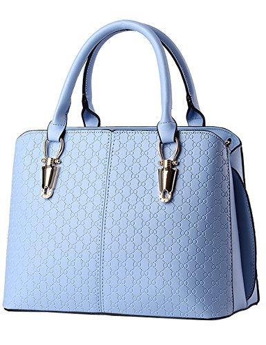 Menschwear Leather Tote Bag lucida PU nuove signore borsa a tracolla Blu Blu