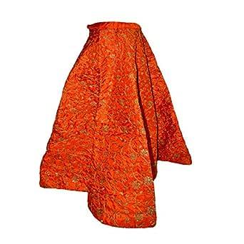 FEMEZONE Women's Brocade Silk Ethnic Traditional Lehenga/Skirt (FEM20191801-03; Orange; Free Size)