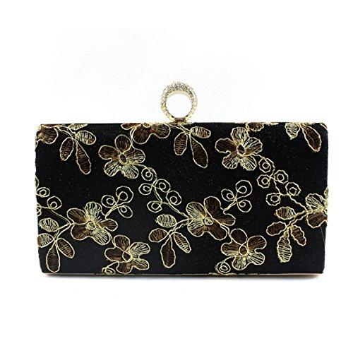 Damen Abend Packt Vintage-Stickerei Damen Kosmetiktasche Handtasche Black