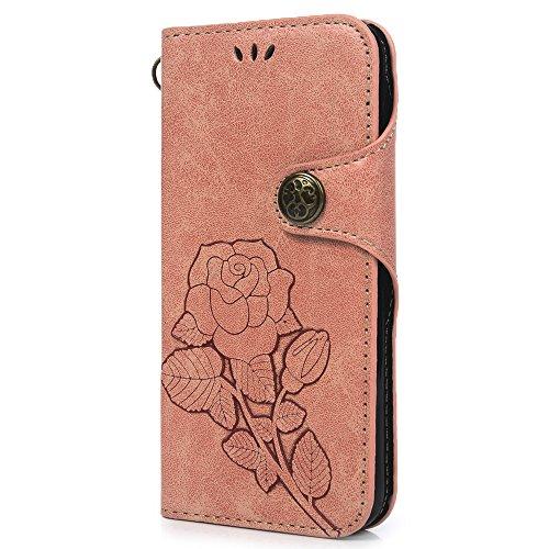 Lanveni Handyhülle für iPhone X Flip Case Cover PU Lederhülle Schutzhülle Magnetverschluss Ledertasche mit Stander Function Brieftasche Card Slot Handy Tasche mit Bunte Gemalt Design (1 x Orange PU Le Rosa