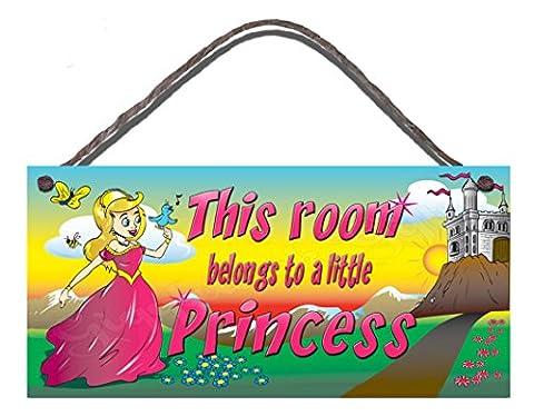 Panneau humoristique anniversaire occasion Style shabby chic plaque murale en bois NEUF cette pièce appartient vers une petite princesse Cadeau
