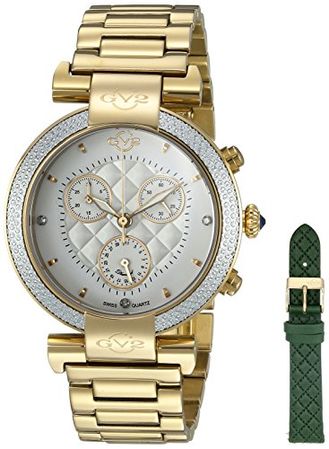 GV2by Gevril berletta Chrono–Cronógrafo con diamantes Swiss Quartz con adicional correa de piel tono de oro reloj de pulsera de acero inoxidable, (modelo: 1551)