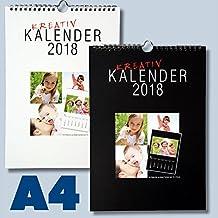 A4 Bastelkalender für 2018 Kreativkalender DIN A4 für Fotos bis 13x18 zum selbst gestalten Fotokalender Foto Hobbykalender Kreativ Kalender schwarz/weiss Foto-Kalender zum selber basteln