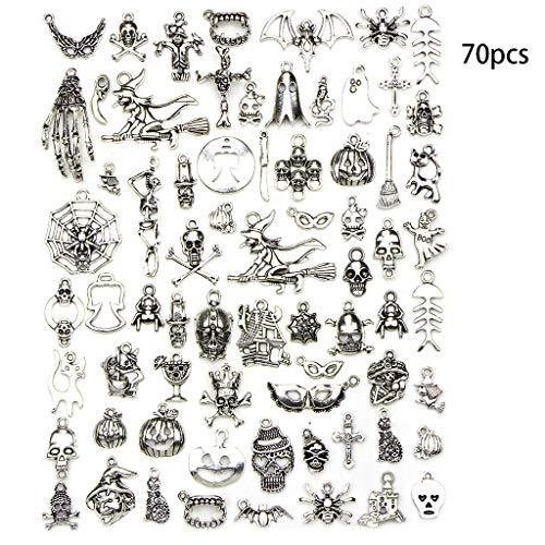 Themen Kostüm Fledermaus - Lisanl Halloween-Design - 70 Stück/Set gemischte Anhänger Vintage Legierung Halloween Thema Armband Halskette Anhänger DIY Schmuck Herstellung Zubehör