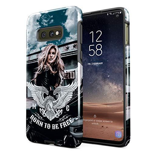 Cover Universe Hüllen für Samsung Galaxy S10e Hülle, Sexy Biker Girl On Motorbike Born to Be Free stoßfest, zweilagig mit Hardcase aus PC + Hülle aus TPU, hybride Case Handyhülle - Womens Born Zubehör