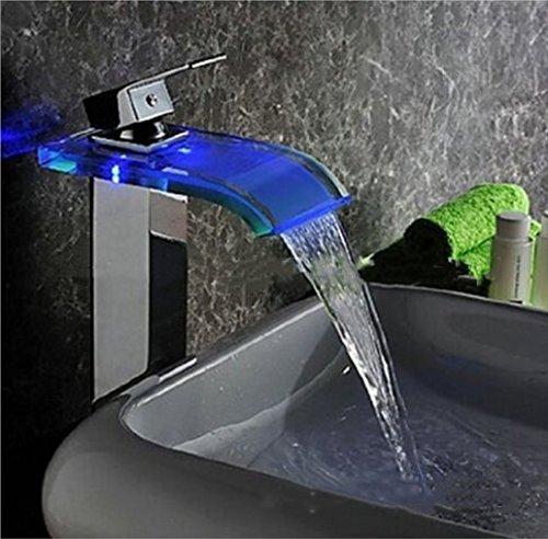 Glas Verchromt, Poliert (Wasserhahn für Küche/Badezimmer/Badezimmer/Wasserhahn mit LED-Wasserhahn, wasserbetrieben, verchromt, poliertes Messing und Glas)