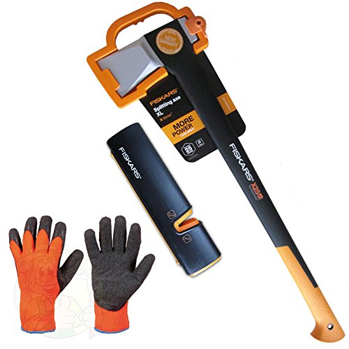 FISKARS Set, Spaltaxt X25 XL 122483 + Xsharp Axt- & Messerschärfer + Handschuhe