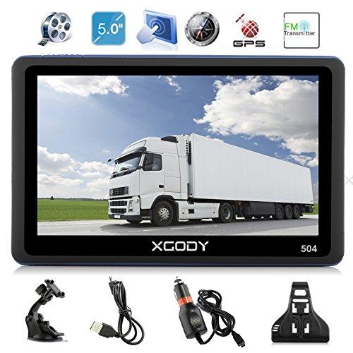 Xgody 504 GPS-Navigationssystem, 5 Zoll (12,7 cm) Navigationsgerät, Touchscreen, Integrierter 8 GB ROM, lebenslange Karte, Gespiegelt, Fahrtrichtung, mit Sonnenschutz Integriertes Navigationssystem