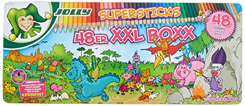 JOLLY Buntstifte Supersticks Kinderfest XXL Box, 48 Stifte in Metalletui, 3000-0494