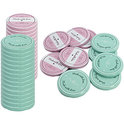com-four® 40x Ersatzdeckel Made with Love, Deckel für Sturzgläser, Marmeladengläser, Einmachgläser, to 82 mm (40 Stück)