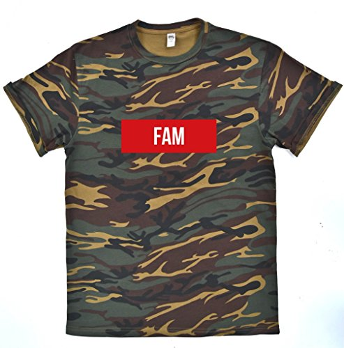 FAM CAMO t-shirt, funny hip london city vibe top yes fam, stormzy bugzy malone, Supreme clothing