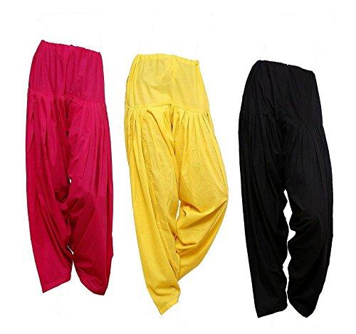 Pistaa Combo Cotton Rani Pink, yellow and Black Full Patiala Salwar