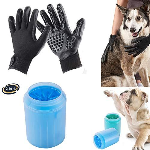Pet Bürste Handschuh +Hunde pfotenreiniger, Pet Pinsel Tierbürste selbstreinigender Fellpflege- Massage-Handschuh Gründliche Reinigung für Hund Katze Fell- & Krallenpflege (M)