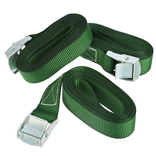 3 Packung Cambuckle Tie-Down Straps 2,5 m von 25 mm 250 Kg Zurrkapazität Ratchet Tie-Down Straps für Moving Appliances Rasen Ausrüstung Motorrad, Grün (3 Boot Strap)