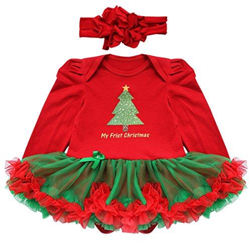YiZYiF 2tlg. / 4tlg. Baby Mädchen Kleid Weihnachten Bekleidung Set Strampler Tütü Bodys + Kopfband Weihnachtsgeschenk für 0-18 Monate (0-3 Monate, #9 Weihnachtsbaum (Baby Santa Outfit)