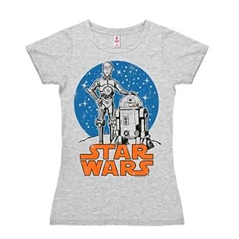 Logoshirt Star Wars-Droids, Camicia Donna, Grey (Grey Melange), 40 (Taglia Produttore:Small)