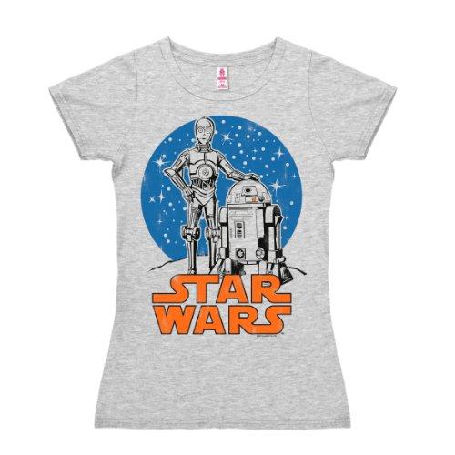T-shirt donna Droidi R2-D2 & C-3PO - Guerre stellari - Star Wars - Spazio - grigio melange - design originale concesso su licenza - LOGOSHIRT, taglia M