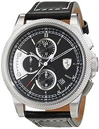 Scuderia Ferrari - 0830275 - Montre Homme - Quartz Chronographe - Cadran Noir - Bracelet Cuir Noir