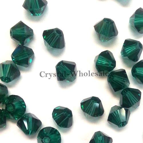 36 pcs Swarovski crystal 5328 / 5301 6mm EMERALD (205) Genuine Loose Bicone Beads **FREE Shipping from Mychobos (Crystal-Wholesale)** - Bicone 6mm Crystal Swarovski