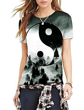 Jiayiqi Mujeres Populares 3D Camiseta De Manga Corta Imprimir Montado Camisetas para El Verano