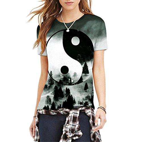 Jiayiqi Frauen Beliebte 3D Ausgestattet T-Shirt Kurzarm Drucken T-Shirts Für Den Sommer Tai Chi