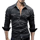 MEIbax Herrenhemden Retro Jeanshemd Cowboy Bluse Schlank Thin Long Tops,Vintage Jeans Shirt Stehkragen Jeansjacke Longsleeve Basic Shirt Freizeit Hemd