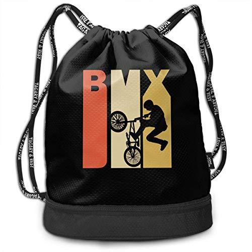 BMX-Silhouette-Rucksack im Retro-Stil der 1970er Jahre für Herren und Damen, 100% Polyester, strapazierfähige Umhängetaschen (1970er Jahren Kleidung Für Frauen)