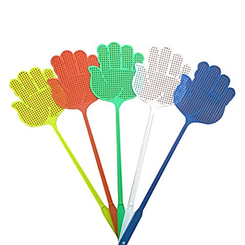 Brand New LIGHTWEIGHT, LONG & LARGE HANDLED FLY SWATTERS with Hang-Hole For Pest Control Bee Mosquito Bug Flying Insect Catcher WASP Killer Zapper Plastic Coloured Hand Shaped
