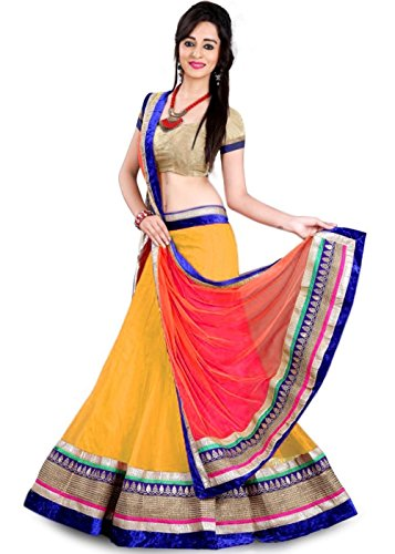 Arawins Yellow Net Women\'s Semi-Stitched Lehenga Choli (Aw_Yellowredkedarln_Free Size)