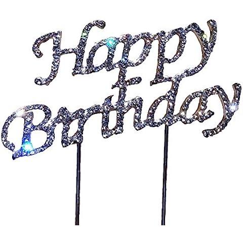 Happy Birthday Tarta Pastel de cumpleaños pastel accesorio Decoración para tartas, cumpleaños, bodas, aniversarios, Cake Topper bufanda Aufsatz Sobrecolchón verdadera pedrería decorativa adornos decoración tarta Conector