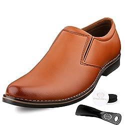 Escaro Mens Tan Formal Slip On Dress Shoes (ES1036KB_TAN_9)