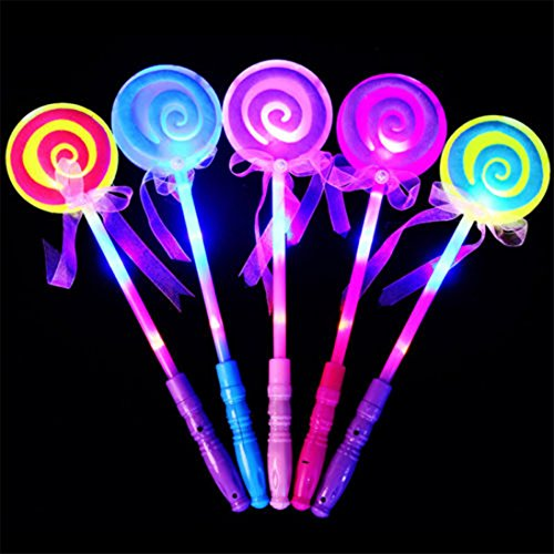 AAA226 LED Light up Flashing Fairy Magic Wand Princess Lollipop Stick Girl Xmas Gift-Random Color (Halloween Zauberstäbe)